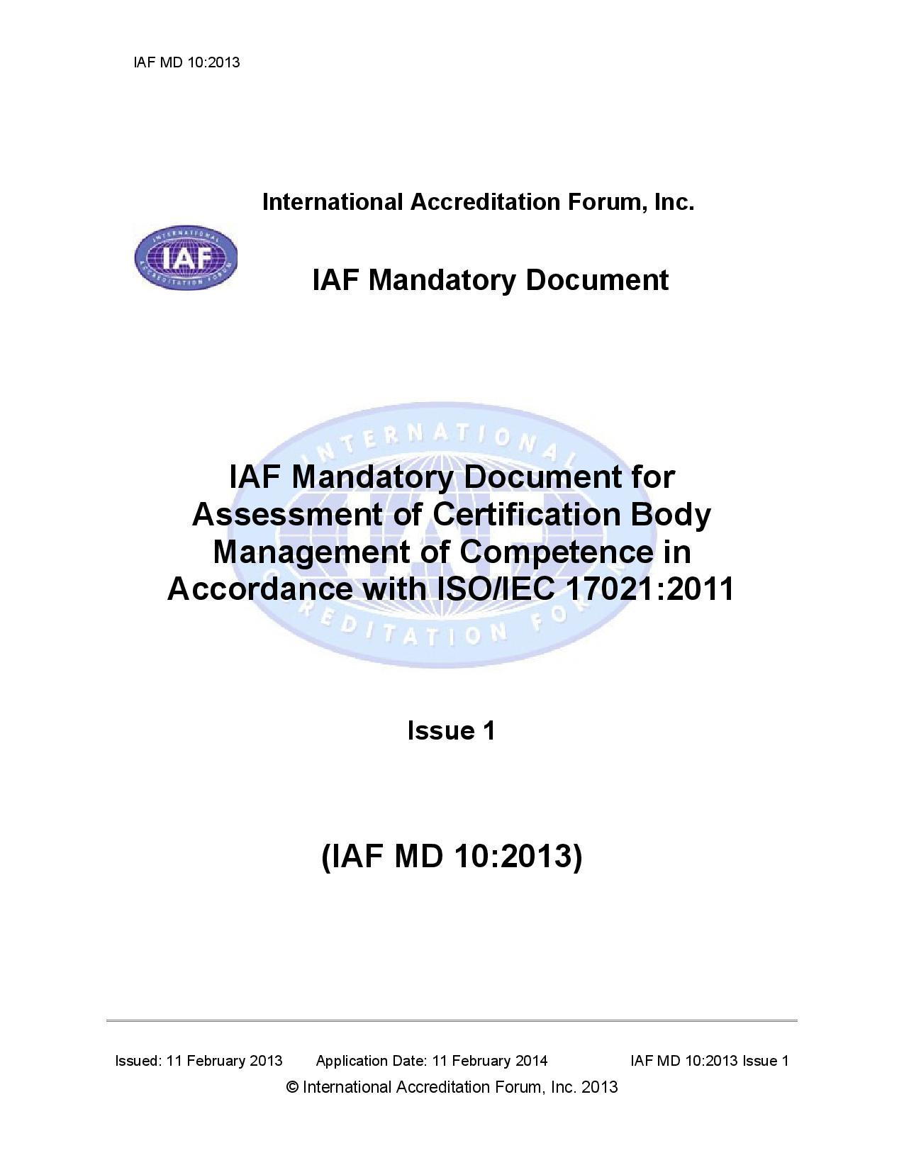 Iaf Mandatory Document On Assessment Of Certification Body