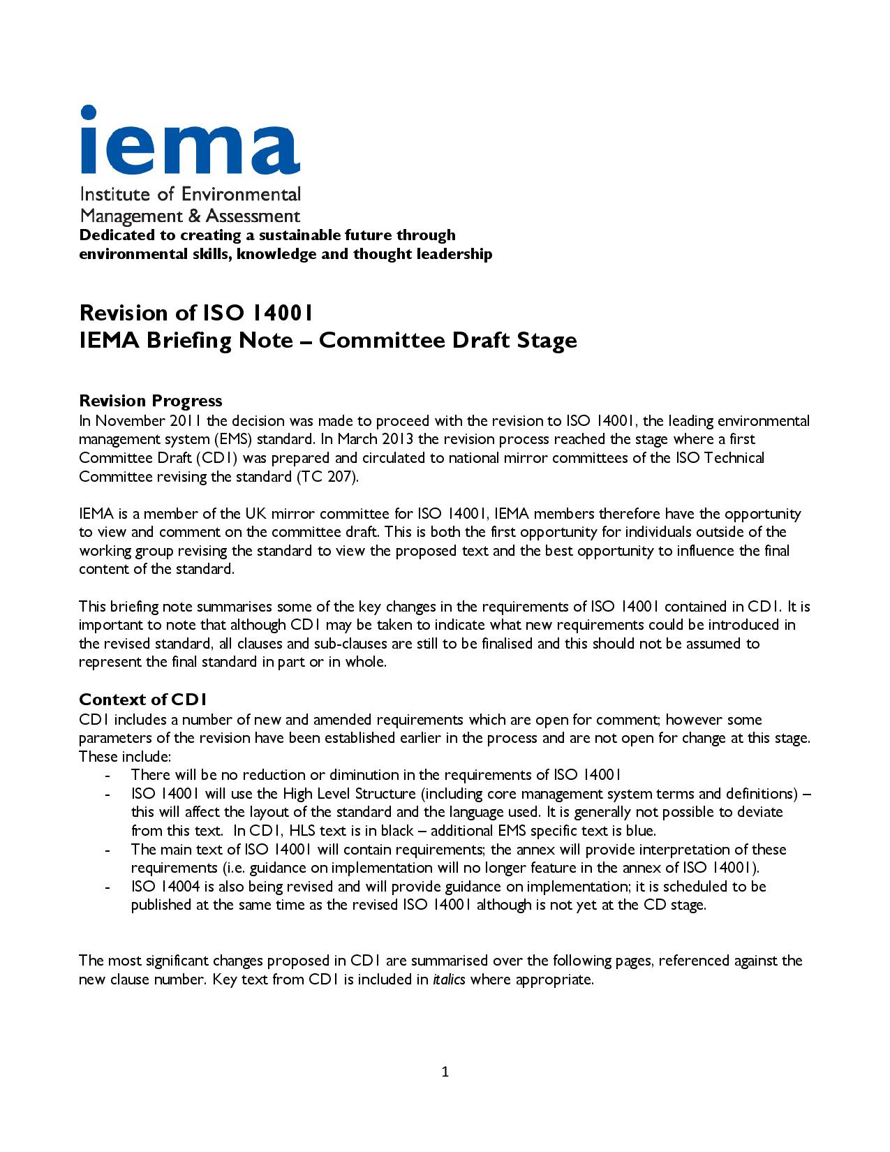 Update Iso 14001 Revision Andrew T Marlow Mba Miema Cenv
