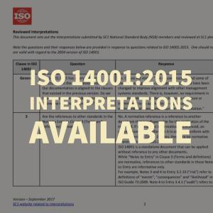ISO 14001:2015 Interpretations Available