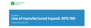 Environment Agency's Regulatory Position Statement for the Use of Manufactured TopSoil (RPS 190)