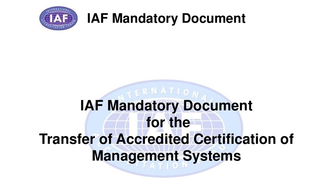 Revised Criteria For The Transfer Of Accredited Certification To