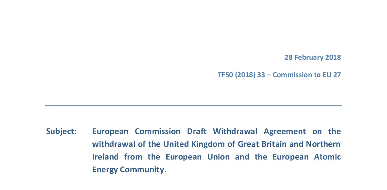 Draft Withdrawal Agreement On The Withdrawal Of The Uk From The Eu
