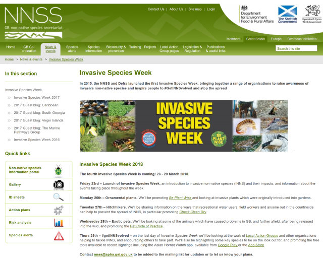 Invasive Species Week (23-29 March 2018)