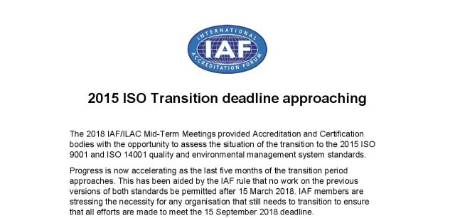 ISO Transition Deadline Aapproaching