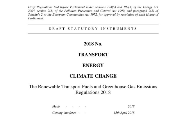 The Renewable Transport Fuels and Greenhouse Gas Emissions Regulations 2018