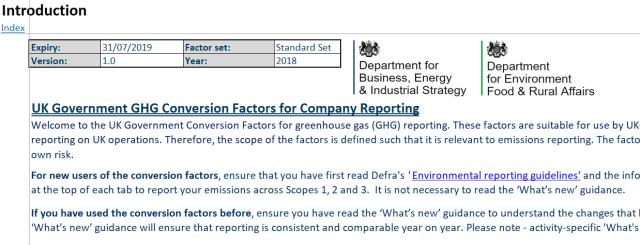 UK Greenhouse gas reporting: conversion factors 2018