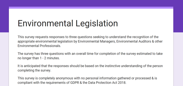 Environmnetal Legislation (England) Survey
